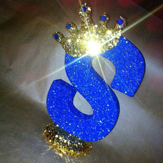 Sparkle letters with crown.  Royal themed decoration by glamtastic
