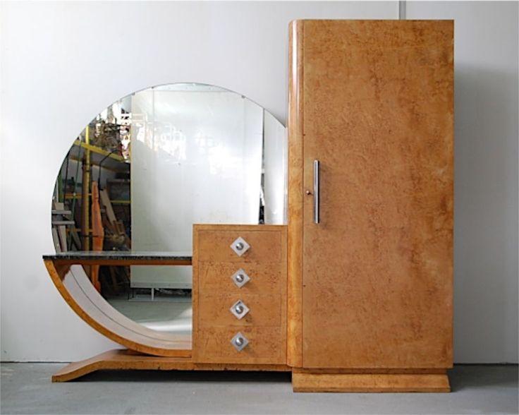 Grande armoire coiffeuse art deco loupe d orme moderniste for Armoire miroir chambre