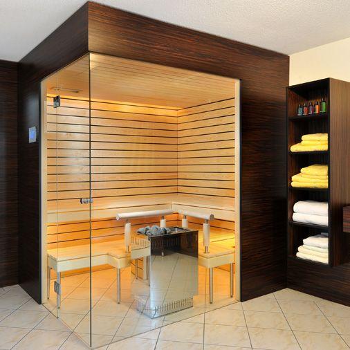 Kung Saunas Stunning corner sauna with glass front
