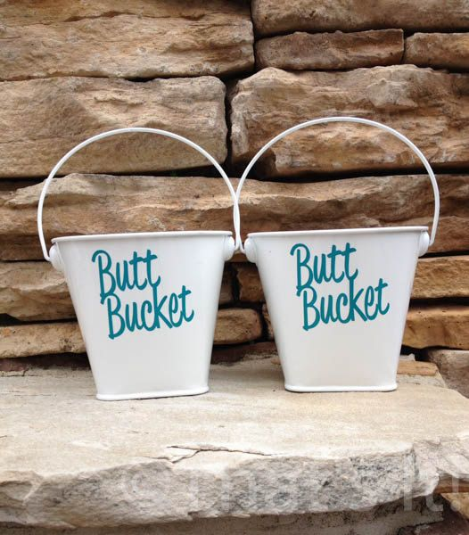 Small butt bucket, set of 2 ashtrays, metal ashtray, outdoor ashtray, cigarette holder, beach ashtray, hostess gift, beach house decor
