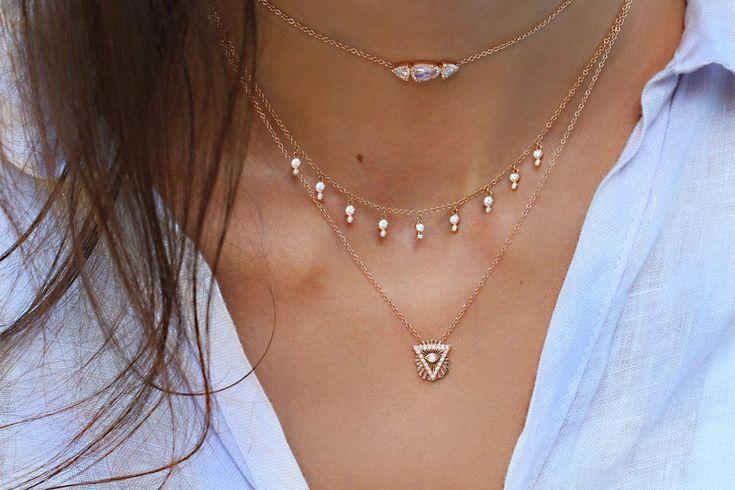 14kt gold and diamond pyramid eye necklace – Luna Skye by Samantha Conn