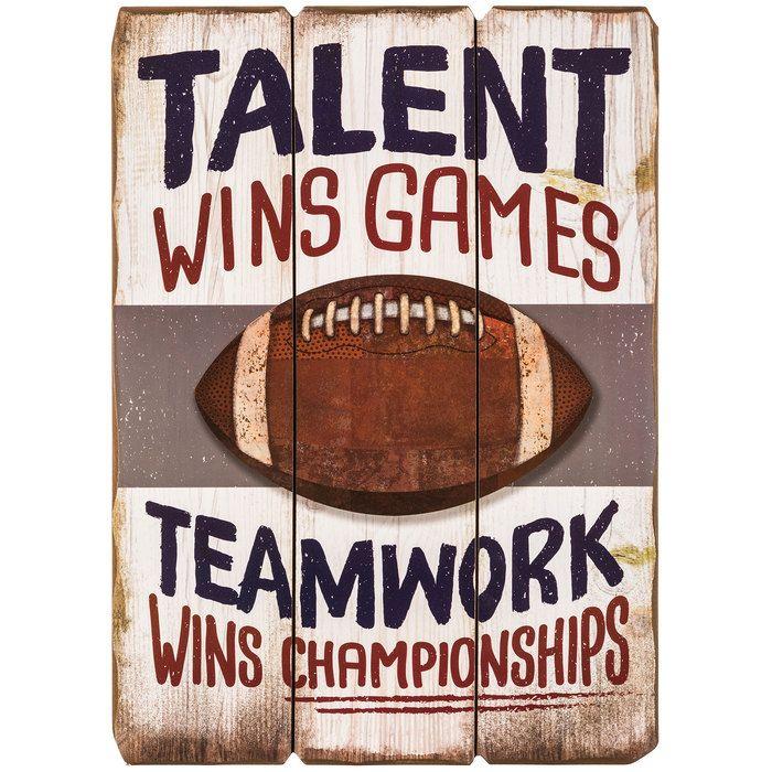 Football Teamwork Wins Championships Sports MDF Sign⎜Open Road Brands