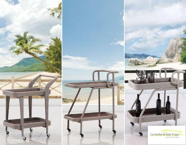Plateau de service chariot outdoor – Plateau de service chariot outdoor gris – Les jardins de Saint Tropez – Les coulisses