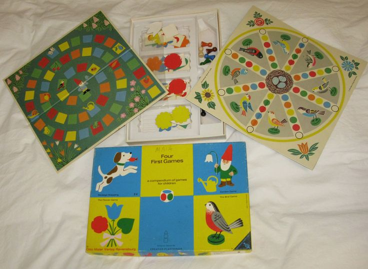Vintage Otto Maier Verlag Ravensburg Creative Playthings First 4 Games  Germany