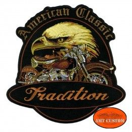 Ecusson Patch American Aigle Moto Tradition veste et gilet harley