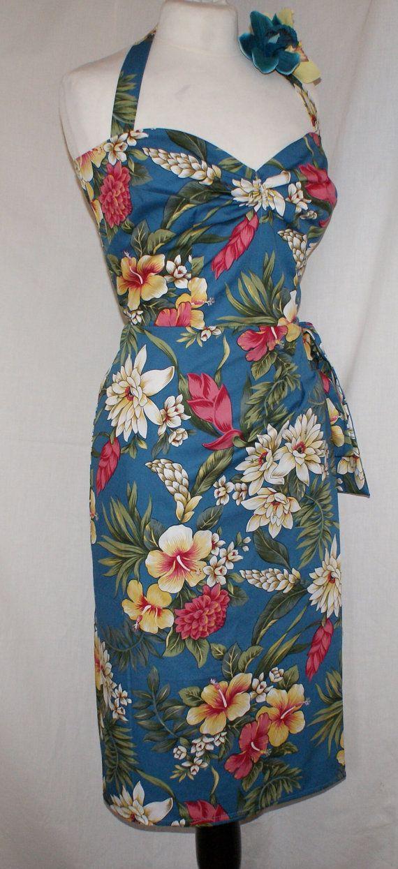 Vintage 1950s inspired striking blue Hawaiian sarong halter wiggle dress VLV rockabilly Viva