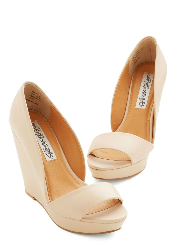 Every Day of the Chic Wedge in Beige. From press conferences to art gallery openings  and every event in between  these beige wedges remain your stylish companion! #cream #prom #wedding #bridesmaid #bride #modcloth