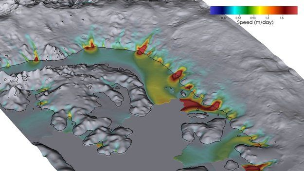 Over two decades of observations by five radar satellites show the acceleration of ice loss of 30 glaciers in Western Palmer Land in the southwest Antarctic Peninsula.