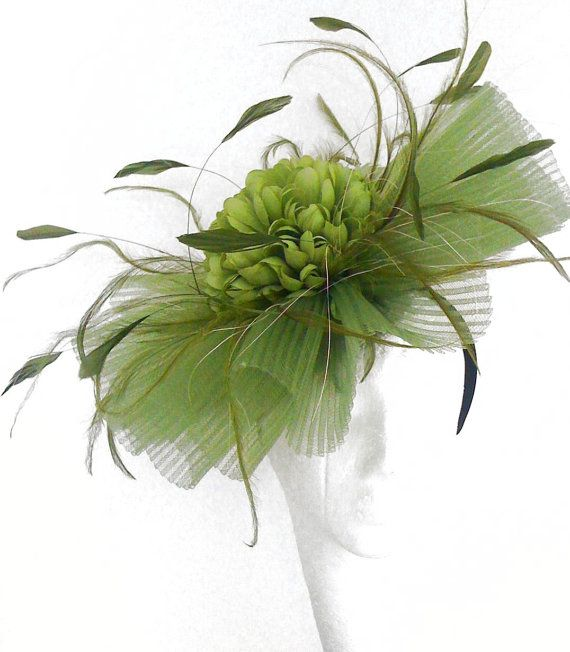 Jenny Olive Green Fascinator Hat for Weddings, Kentucky Derby With Headband (20 colours)