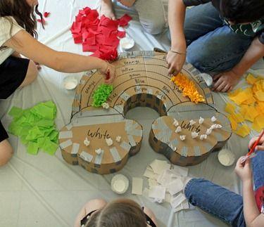 pinata making 101. Tissue squares glued to whatever shape you choose
