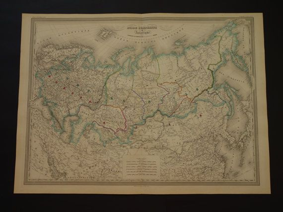 RUSSIA old map LARGE 1866 beautiful original by DecorativePrints