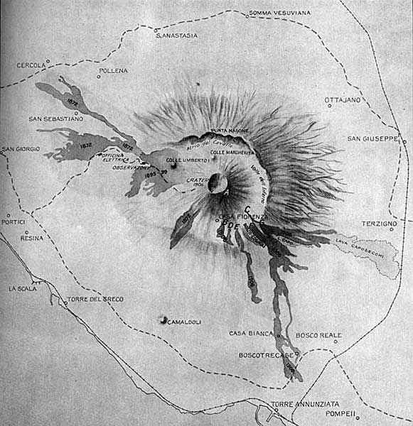 Vesuvius Map from The Vesuvius Eruption of 1906 by Frank A. Perret.