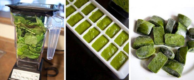 Coloca todos los ingredientes en una licuadora o procesadora y licua hasta hacerlos puré. Luego, vierte la preparación en la cubitera y llévala al freezer. Una vez congelados, puedes guardar los cubitos en bolsas. Así, te resultará más rápido preparar tus batidos por las mañanas.