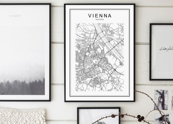 Vienna Map Print Vienna City Wien Österreich by GalaDigitalPrints