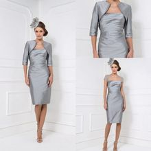 2016 Custom Sexy Short Sleeve Sheer Neck Silver Mother of the Bride Dresses With Jacket Beaded Mothers Dress For Beach Weddings(China (Mainland))