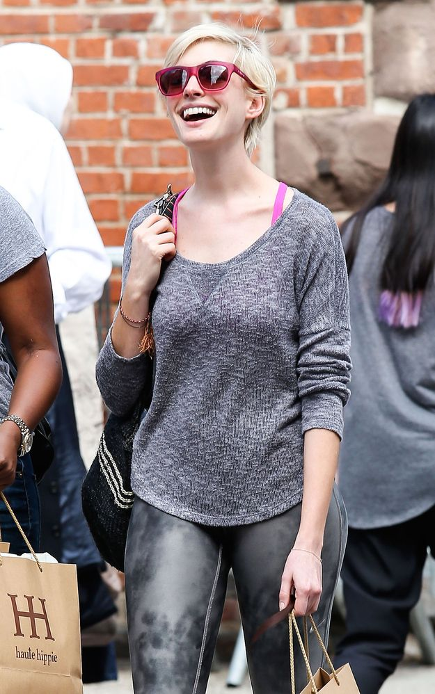 Anne Hathaway, blonde pixie, super casual.. I have always loved her!