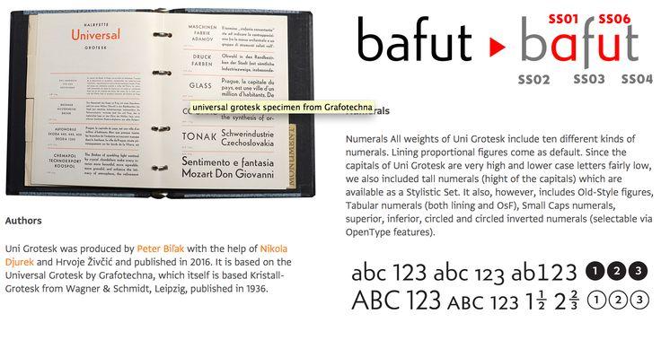 """Die """"Uni Grotesk"""" ist eine Neuaufmachung der """"Universal Grotesk"""" von Grafotechna, welche widerum auf der """"Kristall-Grotesk"""" von Wagner & Schmidt aus dem Jahr 1936 basiert. Die """"Uni Grotesk"""" ist eine Schrift von Peter Biľak, Nikola Djurek und Hrvoje Živčić. Mir gefällt die klare, geometrische, aber nicht hart oder kalt wirkende Anmutung!  Aufgrund ihrer zu gleichförmigen Art eignet sie sich nicht als Fließtextschr.. In Kombination mit Lumin oder Brioni könnte ich sie mir allerdings gut…"""