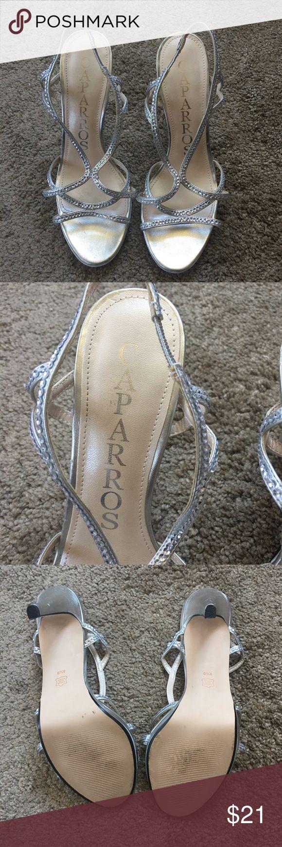 Caparros Women's Shoes Sliver Metallic High Heels, Cross Strap, Open Toe Shoes w/ Bling, Sling Back Straps Caparros Shoes Heels