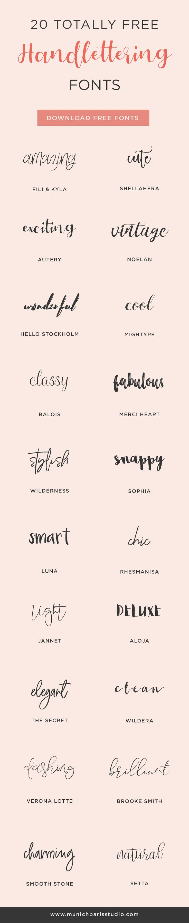 20 FREE Handwriting Fonts for personal and commercial use