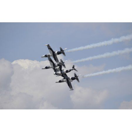 The Black Diamond Jet Team fly in diamond formation Canvas Art - Stocktrek Images (35 x 23)