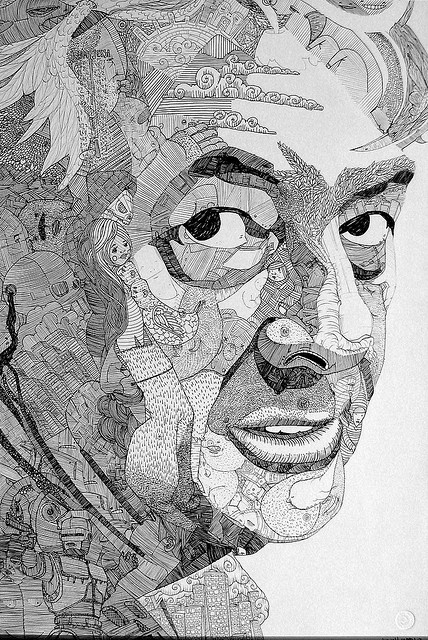 "another ""hidden objects"", doodled portrait by Jason Sho Green"