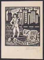 Stanisław Rolicz (1913-1997): Erotikus ex libris. Fametszet, papír, jelzett, / Polish erotic bookplate, wood negraving, signed. 8x11 cm