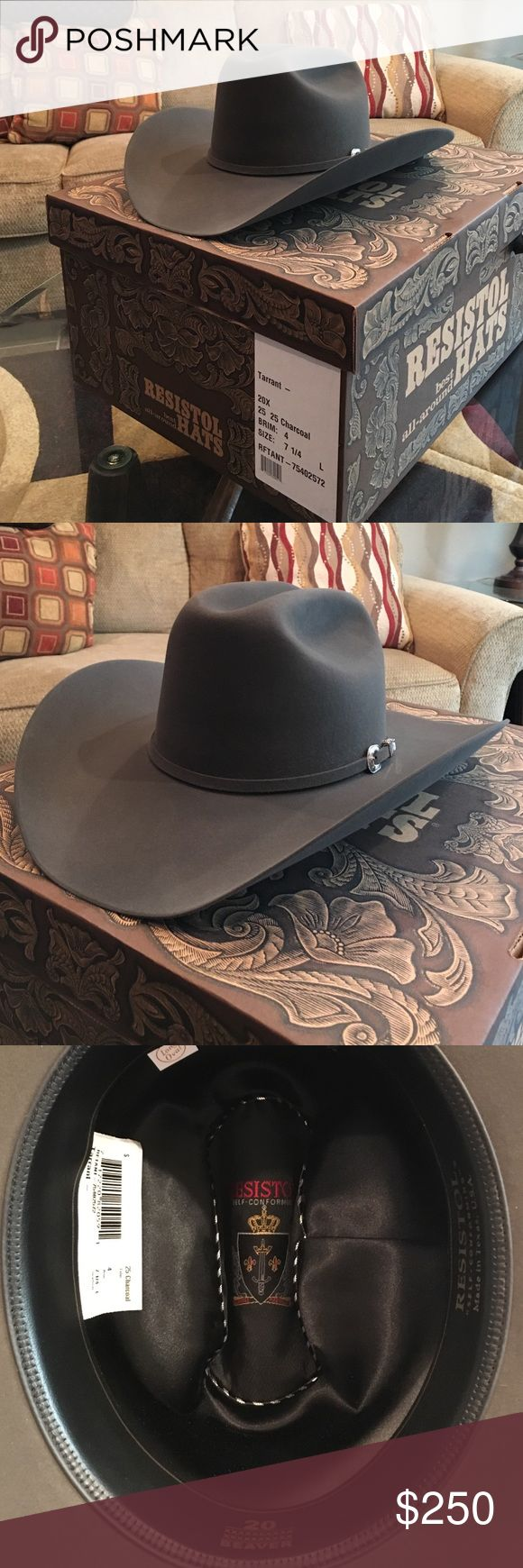 20x beaver Resistol cowboy hat New in the box! Never worn and only the second time it's come out of the box (for picture). Great deal on a new hat. Great charcoal color is unique and ready for winter styling. Resistol Other