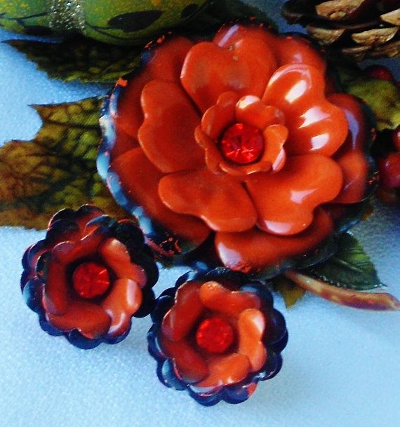 Orange and Black Fall Jewelry Set Enamel by normajeanscloset, $29.99