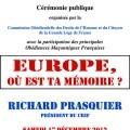 A l'occasion de la Journée du Devoir de Mémoire, laCommission Obédientielle des Droits de l'Hommede la Grande Loge Loge de France (GLDF), avec les princi