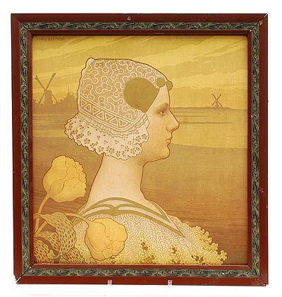 Kleurenlitho Sa Très Gracieuse Majesté La Reine Wilhelmine in houten lijst ontwerp Paul Berthon 1872-1909 uitvoering in een oplage van 200 door Chiax Atelier Cheret Parijs / Frankrijk ca 1900