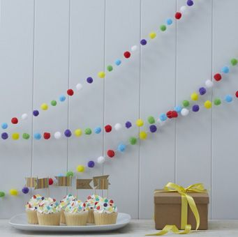 A fun, bright and colourful way to add a pop of colour to any celebrations! Our pom pom garland features yellow, red, green, white and purple pom poms!