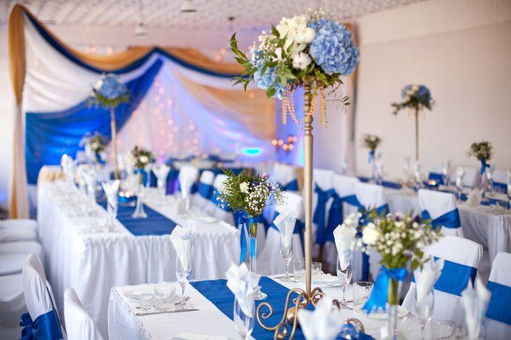 декор зала на свадьбу синий - Google Search