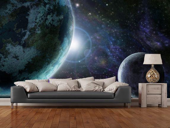 Blue Planet Earth wall mural room setting