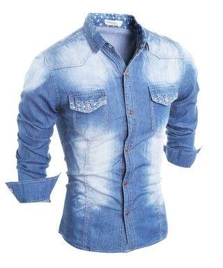 Camisa de Jeans Juvenil Casual - con Detalles Florales y de Estrellas - en Azul Claro y Azul Oscuro