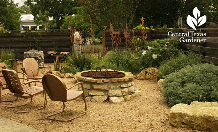 Decomposed granite patio and fire pit - Donna and Mike Fowler, Hutto garden, Central Texas Gardener