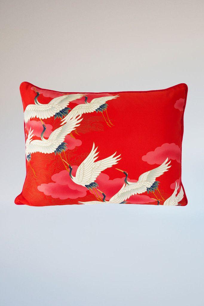 White Stork Cushion - Large Oblong