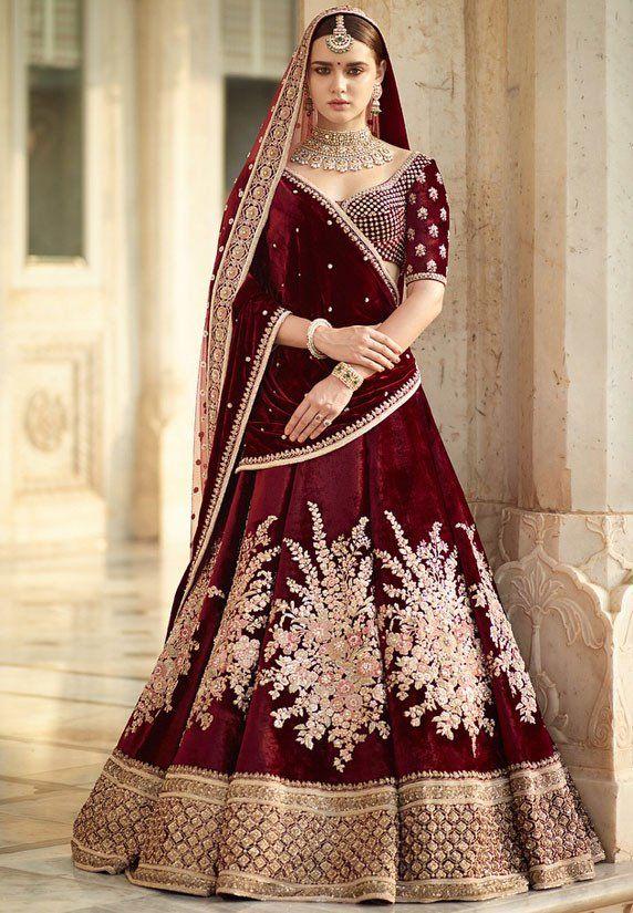55e45d6752 Gulkand Maroon Bridal Lehenga Choli in 2019 | Lehenga Choli | Bridal  lehenga choli, Bridal lehenga, Lehenga designs