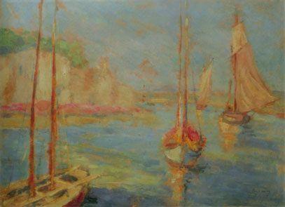 """Józef Pankiewicz, """"Łodzie w porcie w Concarneau"""", 1908,"""