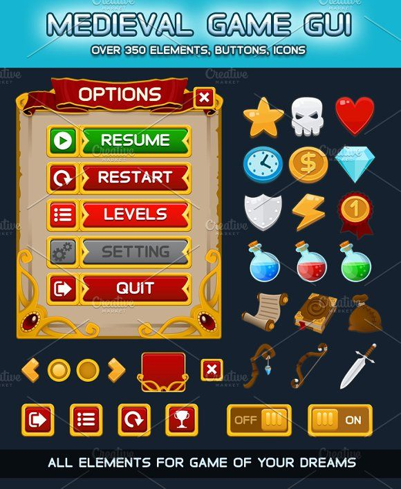 Medieval Game GUI Pack by Saranai Store on @creativemarket