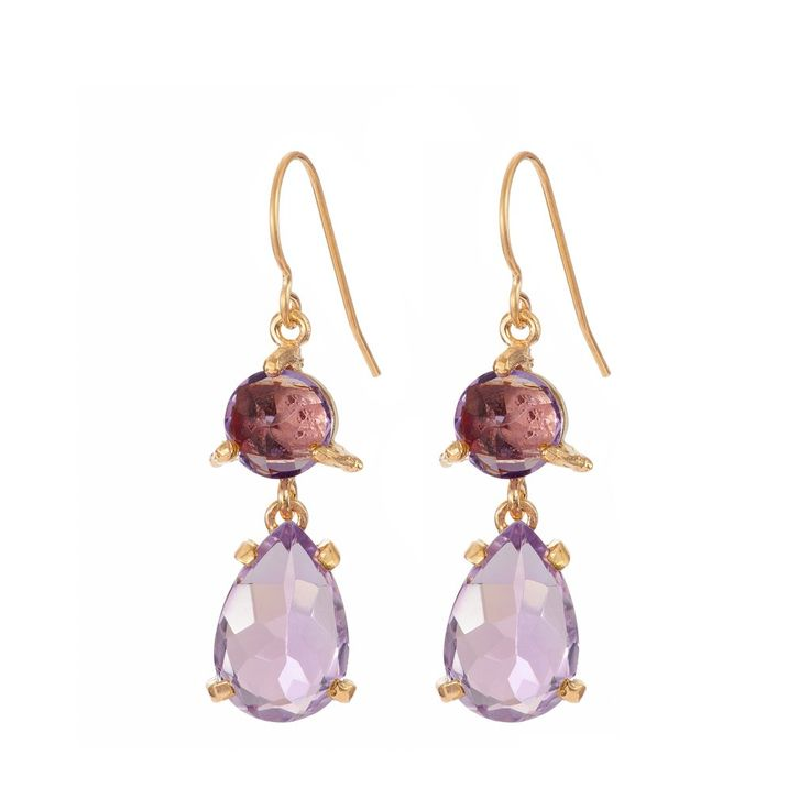In The Wild Earrings Amethyst in Gold