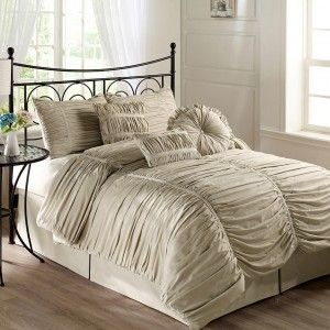 cool ruched duvet cover with bed skirt and wrought iron bed frame also bed side table