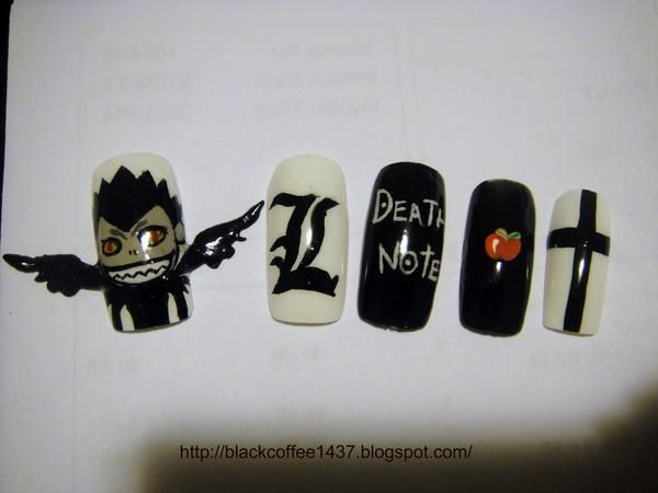 DEATH NOTE. ANIME. NAILS.  Pinned from Stephy Sama