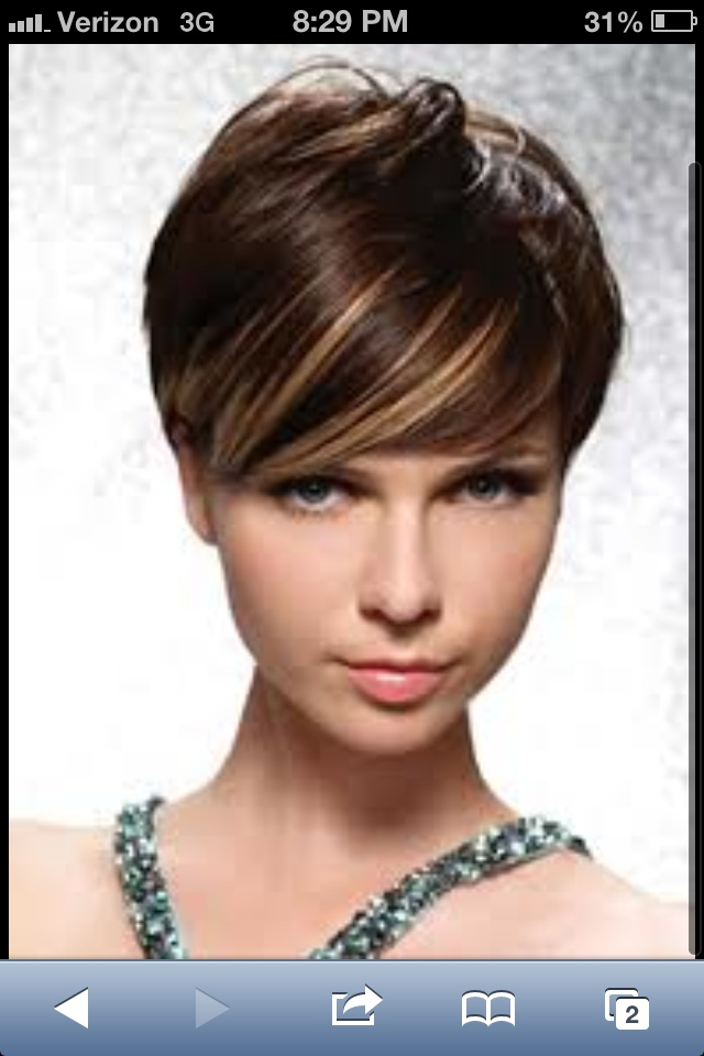 46 best hair color images on pinterest hairstyles trends and but i dont think i have the guts to go this short brown short hair with highlights w long side bangs haircut best on fine to medium straight to pmusecretfo Choice Image