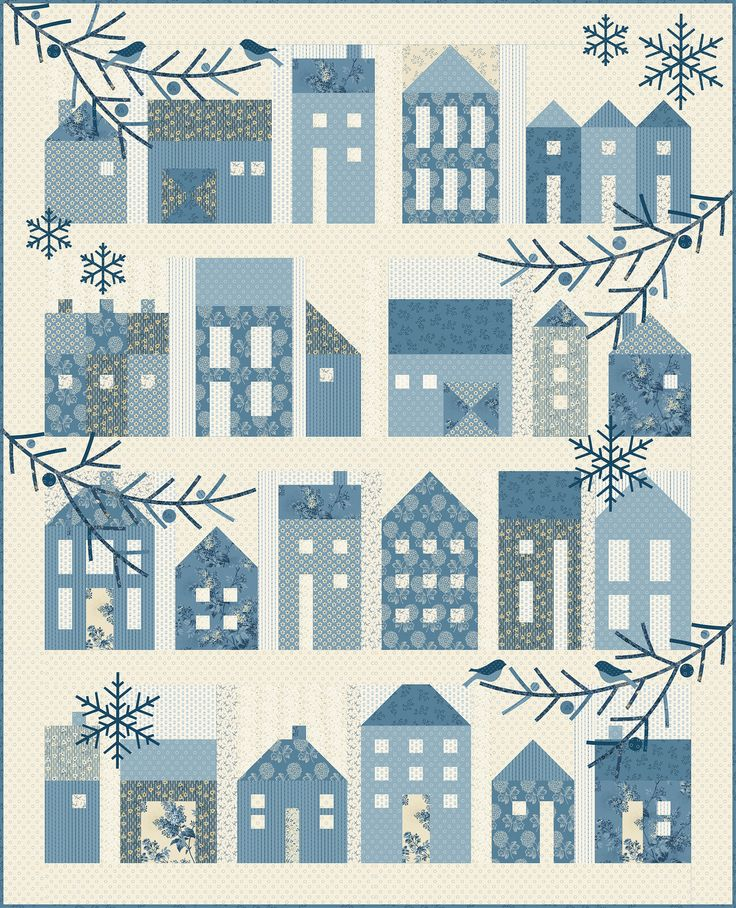 Image result for Winter Village by Laundry Basket Quilts made with Blue Sky for Andover