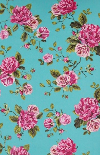 Un Bisou (310004) - Eijffinger Wallpapers - Vivid pink rose bouquets against a bright turquoise blue background - a real eye catcher. Paste the wall. Please request sample for true colour match.