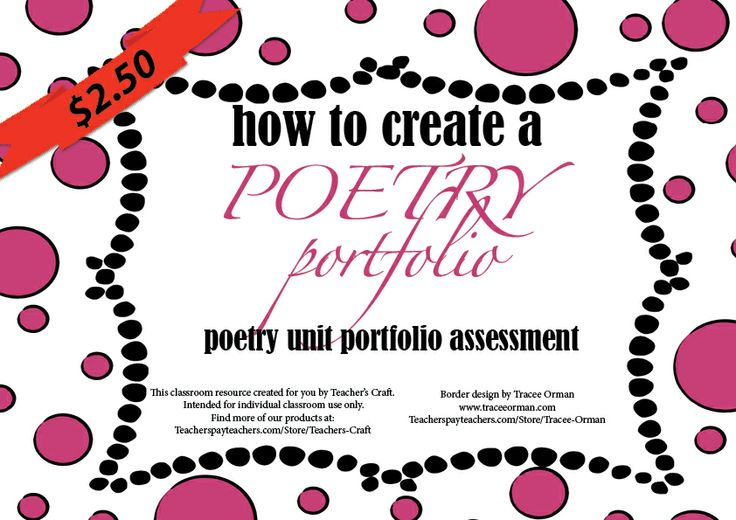 poetry portfolio Poetry portfolio due: last day of class (possible extension to noon, dec 11) no e-mail submissions allowed if you take the extension, deliver to my mailbox in kalia 101 or to my office (kalia 204) if you want your portofolio returned to you.