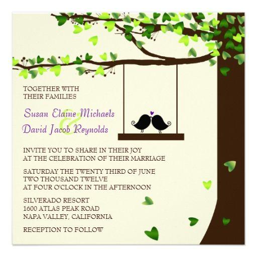 918 best love birds save the date invitations images on pinterest love birds falling hearts oak tree wedding invite stopboris Gallery