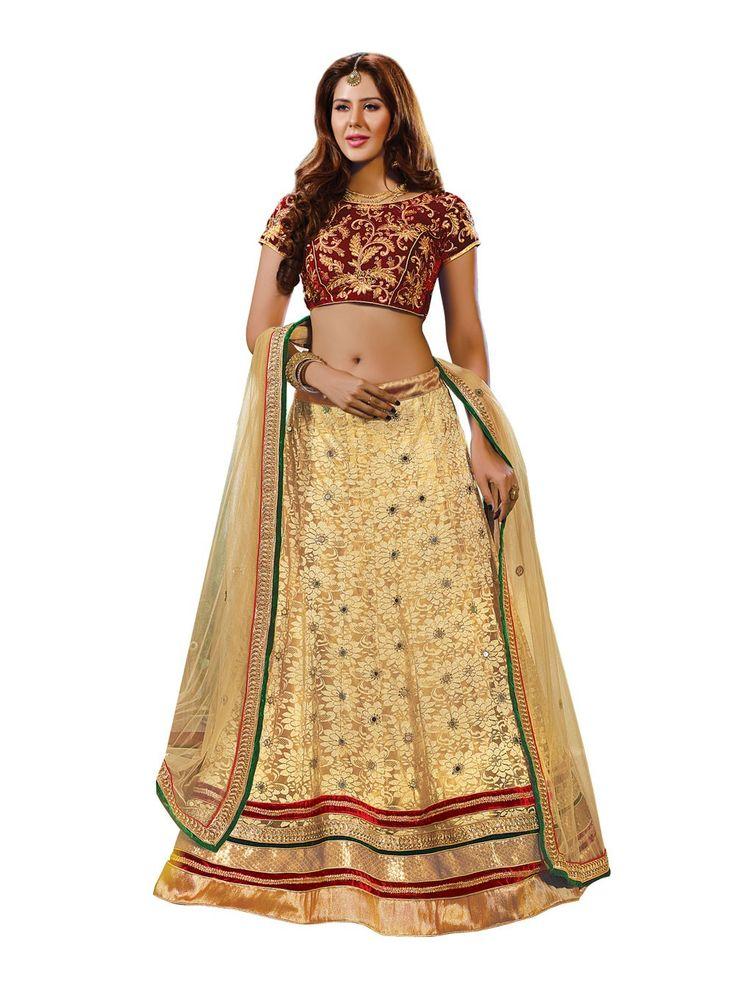 Women's Super Net Fabric & Beige Color Pretty A Line Lehenga Style   https://www.designersareesuite.com/catalog/product/view/id/24700/s/women-s-super-net-fabric-beige-color-pretty-a-line-lehenga-style/category/54/#.ViCnMeyqqko