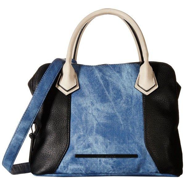 Steve Madden Bmaya (Black/Denim/Bisque) Satchel Handbags (165 PEN) ❤ liked on Polyvore featuring bags, handbags, blue, denim hand bags, blue satchel handbags, denim purse, satchel handbags and zipper purse