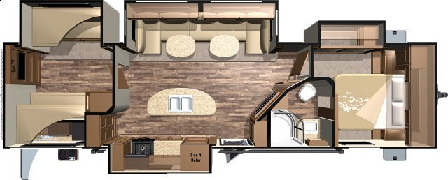 Open Range Roamer 310BHS - 4 Slide Bunkhouse Travel Trailers Floorplan